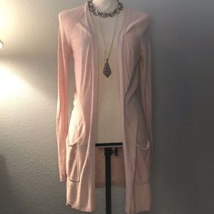 Soft pink lightweight cardigan - long w/pockets!